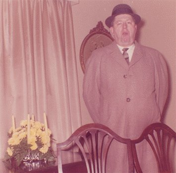 Vintage Photo 1950s MAN in HAT by YELLOW FLOWER BOUQUET