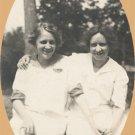 Vintage Photo 1910s TWO WOMEN SEATED ON STUMP