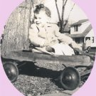 Vintage Photo THANKSGIVING DAY 1946 Toddler WAGON
