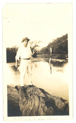 VINTAGE 1930s Photo MAN on Rock FISHING