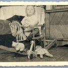 Vintage PHOTO 1940s BABY Rocking Horse TOYS Toy DOLL
