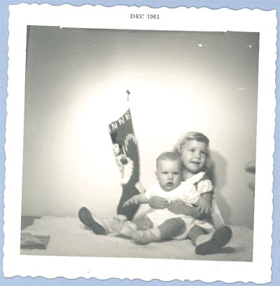 Vintage PHOTO Christmas 1961 TODDLER & BABY Stocking