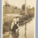 Vintage Photo WOMAN Baby SWIM 1920s THERRELL Fix