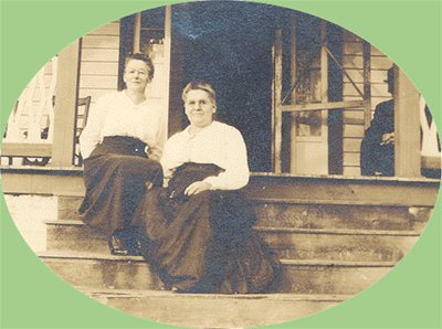 Vintage Photo TWO WOMEN on the PORCH Late 1800s