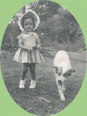 Vintage Photo Girl in BONNET with DOG 1940s