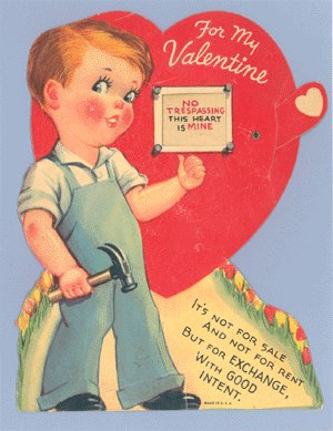 Vintage Valentine NO TRESPASSING Mechanical MOVING Card