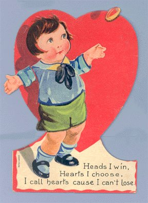 Vintage Valentine COIN TOSS Mechanical GERMAN Card