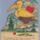Vintage Valentine STORK/CRANE Mechanical BIRD Card