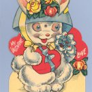Vintage Valentine CRAZY BUNNY Mechanical MOVING Card