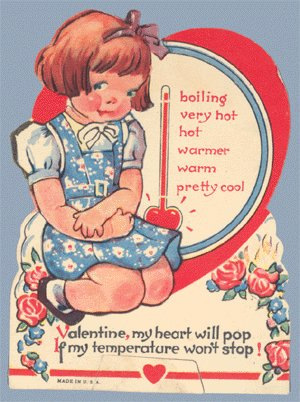 Vintage Valentine HEART WILL POP Temperature THERMOMETER