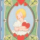 Vintage Valentine GIRL W/HEART Fairfield Line 1930s