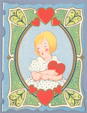 Vintage Valentine GIRL W/HEART Fairfield Line 1930s