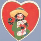 Vintage Valentine DIE-CUT EMBOSSED HEART Girl in Hat