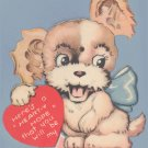 Vintage Valentine DOG ears move - Cute! MECHANICAL