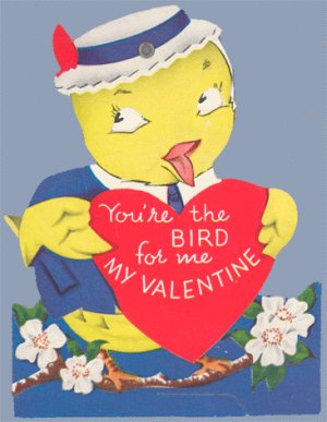 Vintage Valentine YOU'RE THE BIRD in hat MECHANICAL 40s
