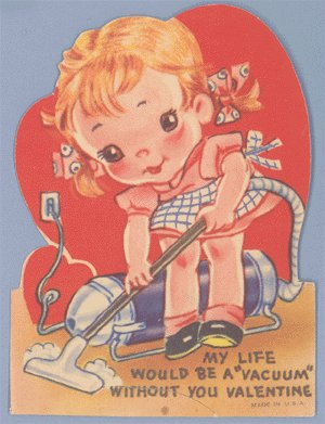 Vintage Valentine BIG EYED GIRL Life would be a VACUUM