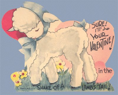 Vintage Valentine Card SHEEP Shake of a LAMB's Tail