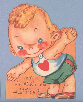 Vintage Valentine RUNNER Can't I a-TRACK-t you RACE