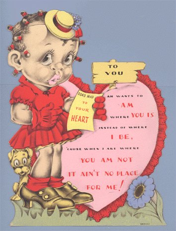 Vintage Valentine BLACK AMERICANA Ah Wants to Am Where