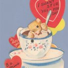 Vintage Valentine TEDDY BEAR Tea Cup MECHANICAL