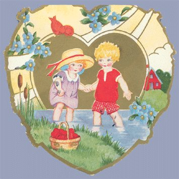 Vintage Valentine WHITNEY MADE Deco HEART Wading