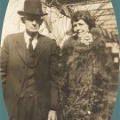 Vintage Photo 1920s/1930s Man BOWLER HAT Woman BIG FUR