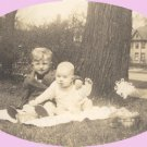 Vintage Photo CHILDREN WITH EASTER BASKET 1945