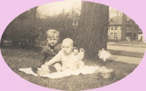 Vintage Photo CHILDREN WITH EASTER BASKET 1945