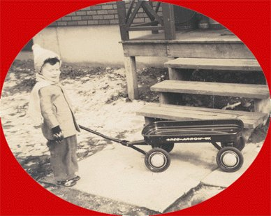 Vintage Photo CHILD WITH RED ARROW WAGON 1940s
