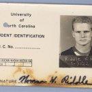 Vintage 1952 UNC Student PHOTO ID CARD North Carolina