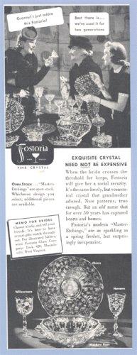 Vintage Advertising 1930s FOSTORIA AD Chintz WINDMERE Navarre