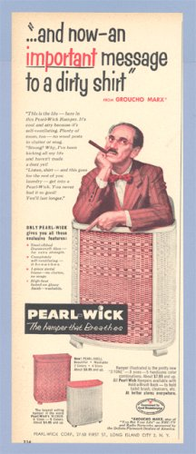 Vintage Advertising 1953 GROUCHO MARX Pearl-Wick AD