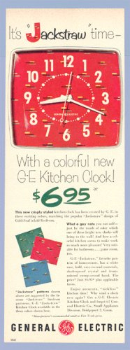 Vintage Advertising 1953 GE Jackstraw KITCHEN CLOCK AD