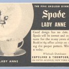 Vintage Advertising 1953 SPODE DINNERWARE Lady Anne AD