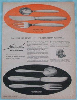 Vintage Advertising INTERNATIONAL SILVER Christiania STOCKHOLM Flatware