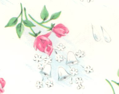 Vintage GIFT WRAP Wrapping Paper SHOWERS OF ROSES 1950s