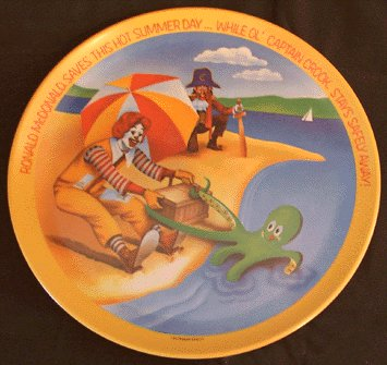 Vintage 1977 McDONALDS Plate SUMMER Ronald McDonald CAPTAIN CROOK
