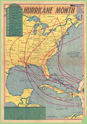 Vintage 1948 SEPTEMBER Hurricane Month USA MAP