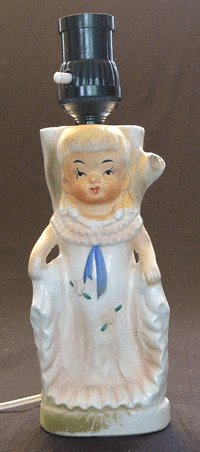 Vintage 1960s Porcelain Figurine LAMP Japan WORKS