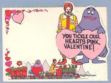 Vintage 1979 McDONALDs Valentine Card Set VALENTINES