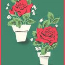 Vintage GIFT WRAP Wrapping Paper FLORAL Red Rose MOD