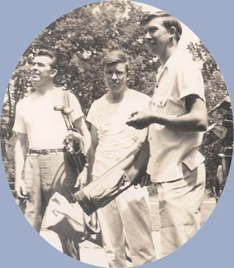 Vintage Photo 1950s GOLF OUTING Trio of Men with Clubs