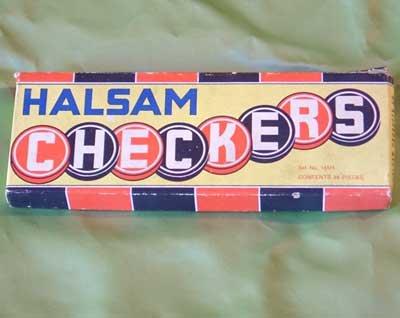 Vintage HALSOM WOODEN CHECKER SET in box