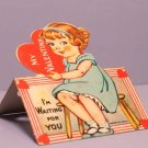 Vintage Valentine Card WAITING FOR YOU Stand-Up 1930s