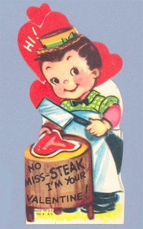 Vintage Valentine Card 1950s NO MISS-STEAK Butcher