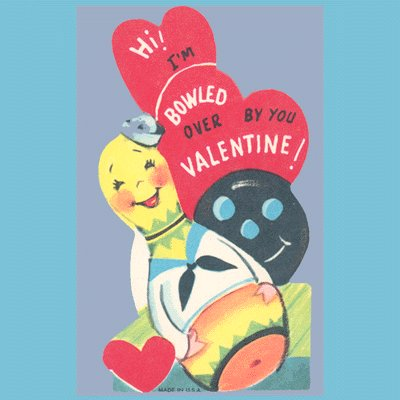 Vintage Valentines Day Card 1960s BOWLING Pin BALL
