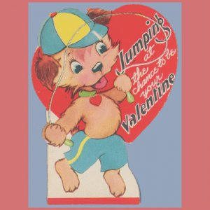 Vintage Valentine Day Card DOG Jump Rope 1950s CARRINGTON