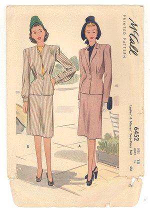 Vintage PATTERN McCALL's 6452 1940s LADIES 2pc SUIT 32b