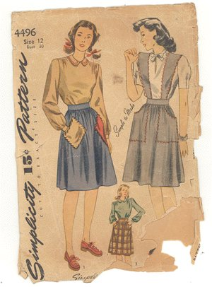 Vintage PATTERN SIMPLICITY 4496 1940s SKIRT Blouse 30b