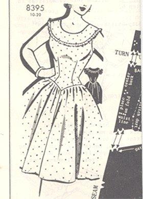 Vintage PATTERN 1956 PATT-O-RAMA 8395 Country PARTY DRESS 32b